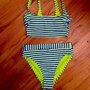 Neon Striped High Waisted Bikini